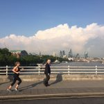 Katriona Ryan, running from work across Waterloo Bridge