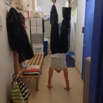 Physiotherapist Laura Fidler doing a very straight handstand