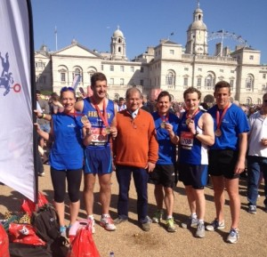 The team who ran the marathon for the Bob Champion Cancer Trust
