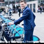 A business man at the Boris Bike rank