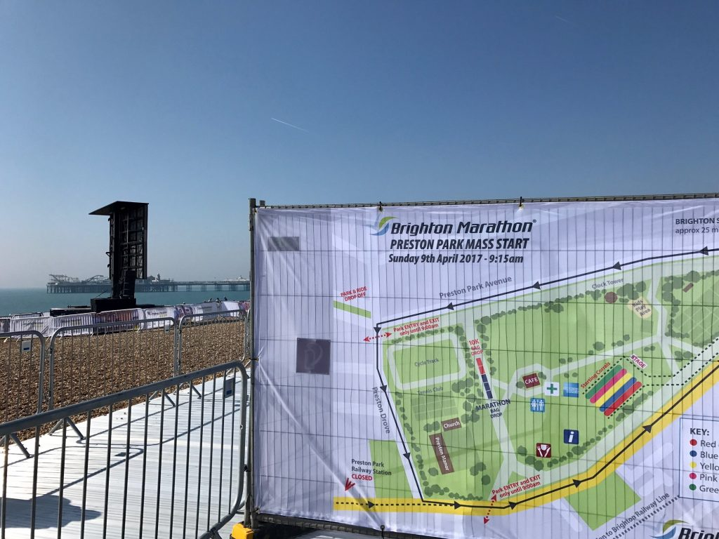 A picture of the map of the Brighton Marathon with the blue sky behind