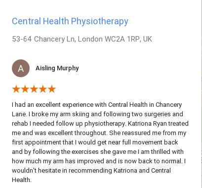 Customer review by Aisling Murphy for Katriona Ryan, Central Health PHysiotherapy
