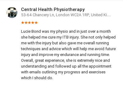 Customer review by Ilaria Olivero for Lucie Bond, Central Health Physiotherapy