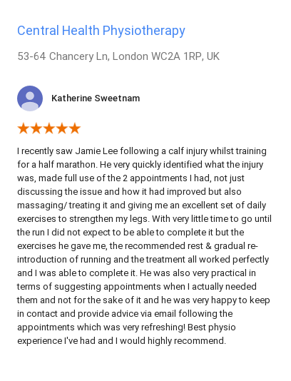 Customer review for Jamie Lee, Central Health Physiotherapy, by Katherine Sweetnam.