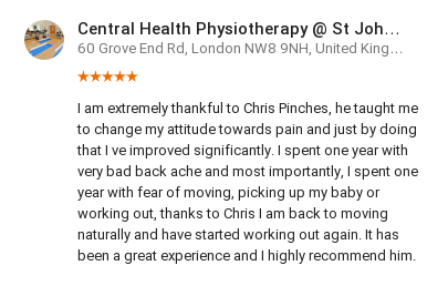 Customer review by Luz Abusaid for Chris Pinches, Central Health Physiotherapy, HJE