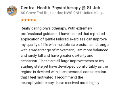 Customer review by Mary Krizka for the neurophysiotherapy department, HJE, Central Health Physiotherapy