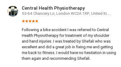 Customer review by Mike Ellis for Shefali Desai, Central Health Physiotherapy