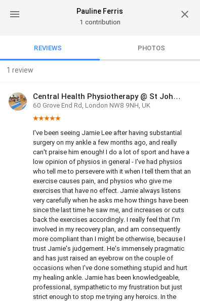 Customer review by Pauline Ferris for Jamie Lee, Central Health Physiotherapy