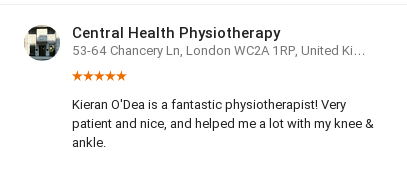 Customer review by Yael Droog for Kieran O'Dea Central Health Physiotherapy