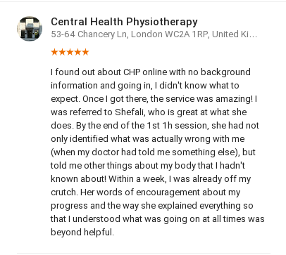Customer review from Sanziana Dana for Shefali Desai, Central Health Physiotherapy
