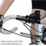 Close up picture of racing handlebars