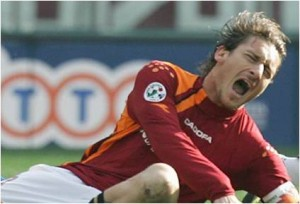 Player sustaining a football injury