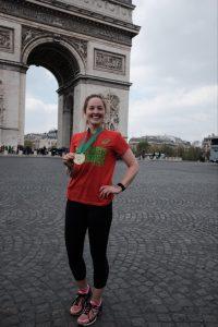 Physiotherapist Katharine Fennelly having finished the Paris Marathon