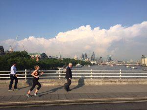 Katriona Ryan, running from work across Waterloo Bridge