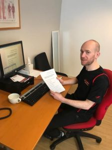 Kieran finishing his dissertation, Central Health Physiotherapy