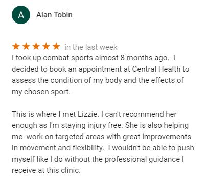 Patient review for Lizzie Hewitt, Central Health Physiotherapy Massage Therapist by Alan Tobin