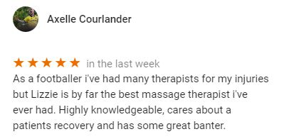 Patient review for Lizzie Hewitt, Central Health Physiotherapy massage therapist by Axelle Courlander
