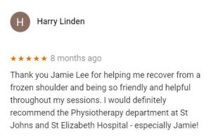 Patient review by Harry Linden for Jamie Lee, Central Health Physiotherapy