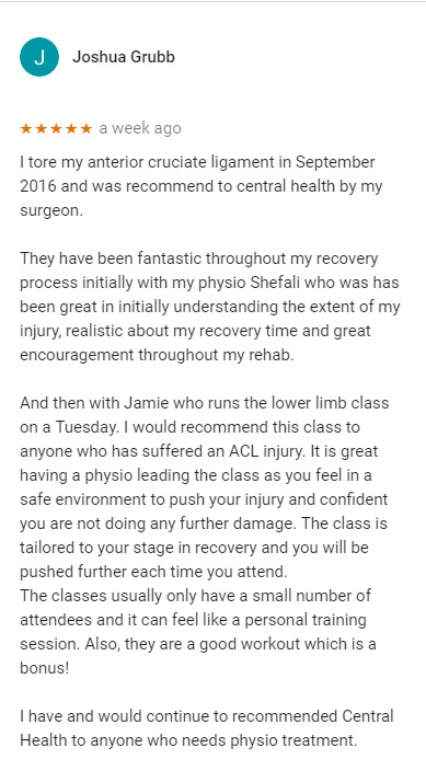 Patient review for Shefali and Jamie and the Lower Limb Class, Central Health Physiotherapy