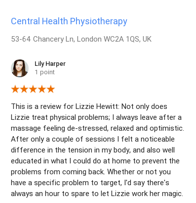 Review by Lily Harper for Lizzie Hewitt, Central Health Physiotherapy Massage Therapist