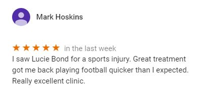 Patient review for Lucie Bond, Central Health Physiotherapy by Mark Hoskins