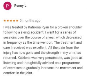 Patient review by Penny L for Katriona Ryan, Central Health Physiotherapy