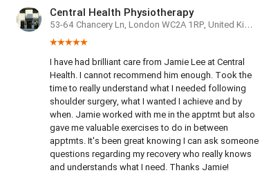 Review for Jamie Lee, physiotherapist with Central Health Physio by Frank Baxter