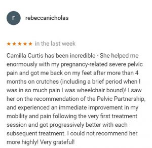 Review by Rebecca Nicholas for Camilla Curtis, Central Health Physiotherapy