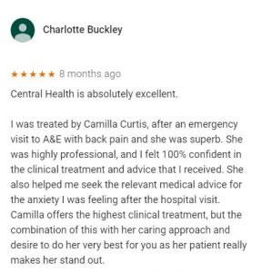 Review for Camilla Curtis, Central Health Physiotherapy by Charlotte Buckley
