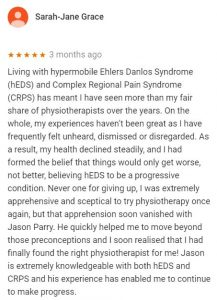 Review for Jason Parry, Central Health Physiotherapy, by Sarah-Jane Grace