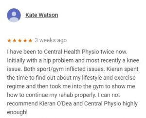 Review for Kieran O'Dea, Central Health Physiotherapy, by Kate Watson