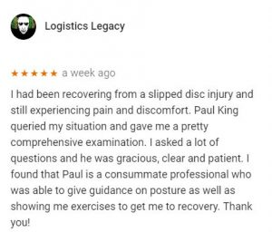 Review for Paul King, Central Health Physiotherapy, by Logistics Legacy