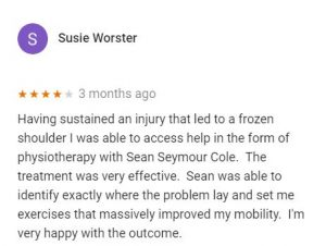 Review for Sean Seymour-Cole, Central Health Physiotherapy, by Susie Worster