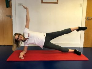 Katriona demonstrates the side plank star