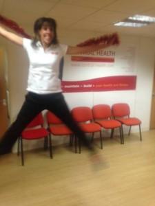 Gemma doing a star jump