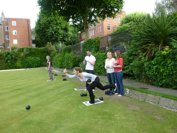 Claire playing lawn bowls