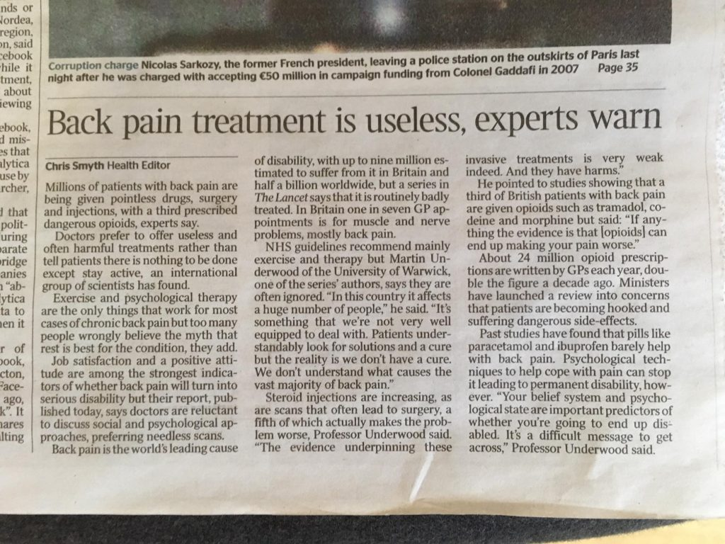 Article about pack pain 22 March 2018 in The Times