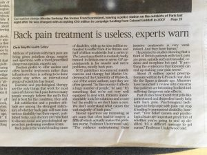 "The Times today: ""Treating Back Pain is Useless"""