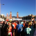 Abby McKenzie with others at the start of the Barcelona marathon