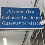 Sign saying Welcome to Ghana, Gateway to Africa
