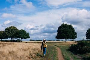 walking outside through fields